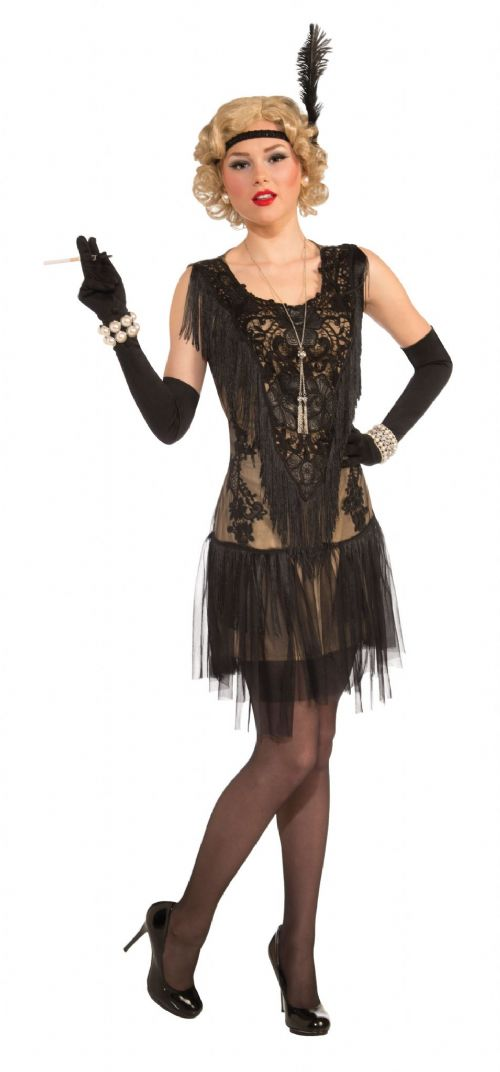 Ladies Lacey Lindy Deluxe Flapper Dress Costume 20s 30s Moll Fancy Dress Outfit
